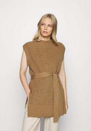BELTED TABARD - Stickad tröja - light brown