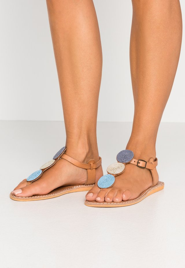 ISKO FLAT - T-bar sandals - light brown/aqua