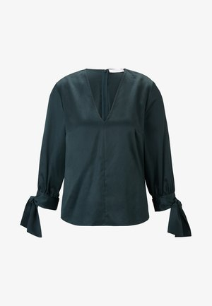 MIT SCHLEIFENDETAIL - Blouse - bottle green