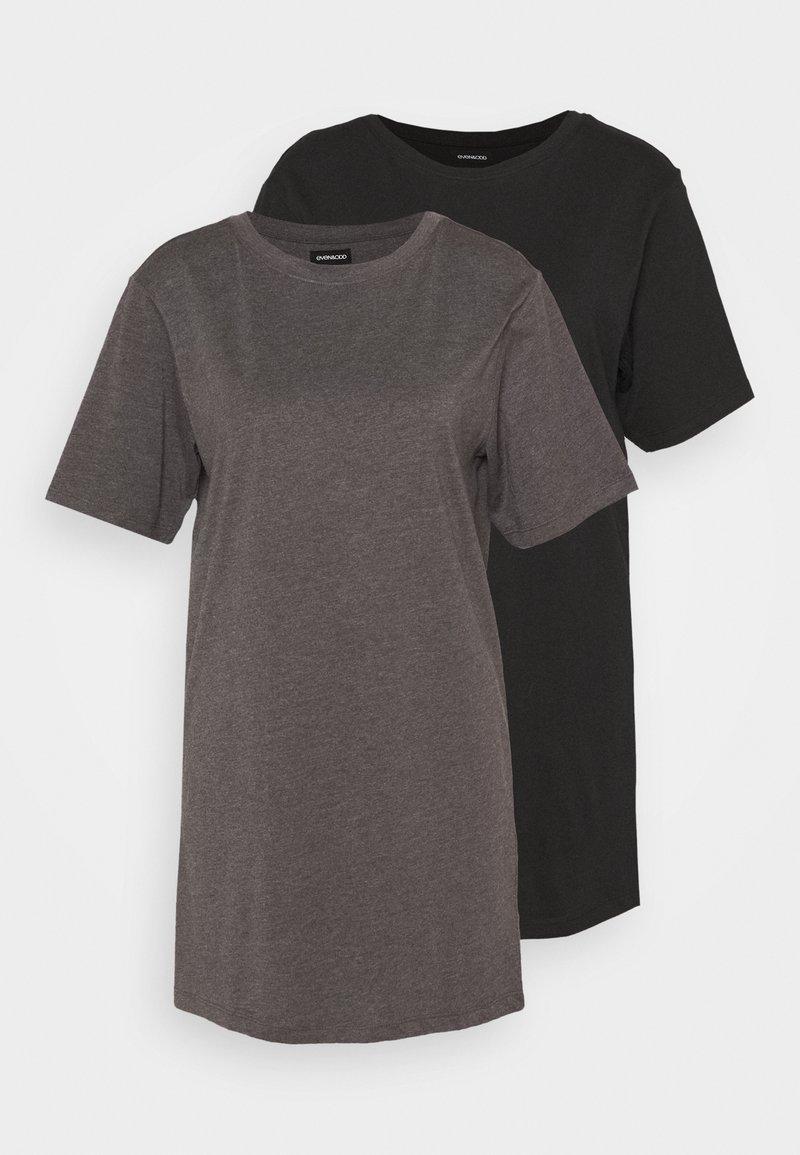 Even&Odd Petite - 2 PACK - Žerzejové šaty - black/dark grey