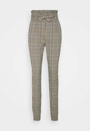 VMEVA PAPERBAG CHECK PANT - Pantaloni - tobacco brown