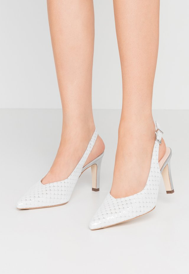 WIDE FIT THYRA - High heels - weiß/fanti silber/corfu