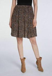 SET - A-line skirt - dark brown camel - 3