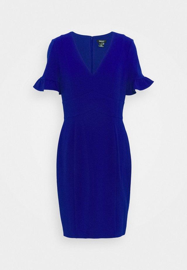 DOUBLE RUFFLE SLEEVED SHEATH - Jersey dress - marine