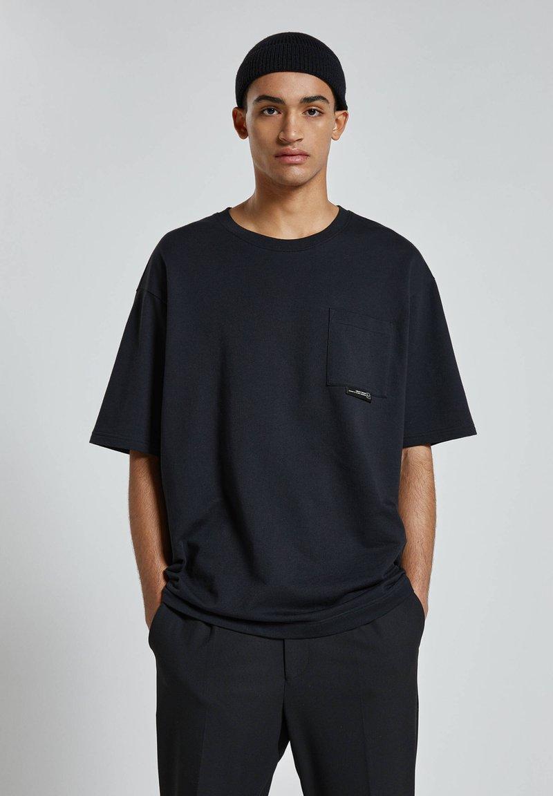 PULL&BEAR - Jednoduché triko - mottled black