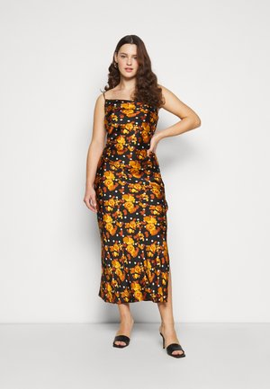 MIDI DRESS WITH NARROW STRAPS AND SIDE SPLIT - Day dress - ochre rose