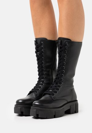 RECYCLED LEATHER  - Platform boots - black