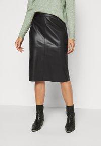 Dorothy Perkins Petite - SEAM DETAIL MIDI SKIRT - Pencil skirt - black - 0