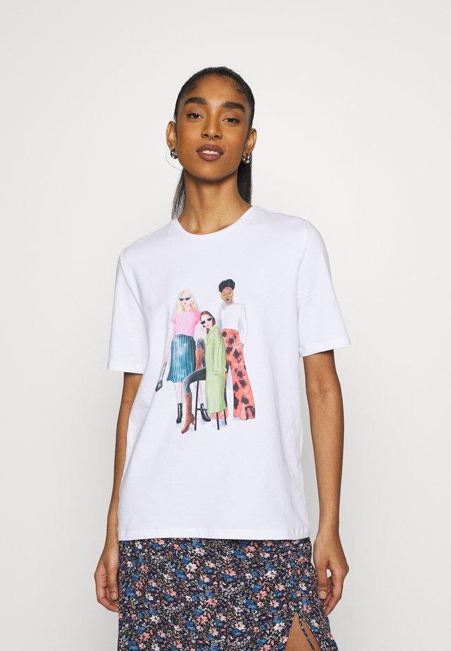 PCJUNA - T-shirt con stampa - white
