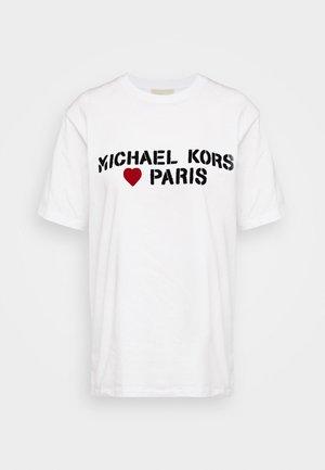 PARIS HEART - Triko spotiskem - white
