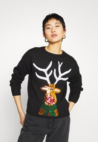 New Look - CHRISTMAS 17.05 WW XMAS SEQUIN REINDEER P82 - Jumper - black - 0