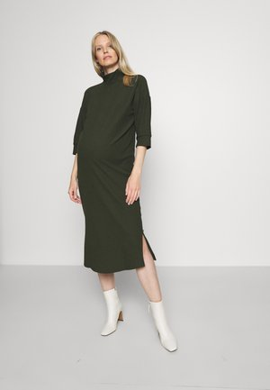 OLMNELLA 3/4 ROLLNECK DRESS - Jumper dress - dark green