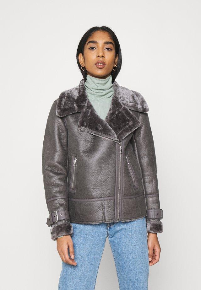 AVIATOR - Faux leather jacket - dark grey