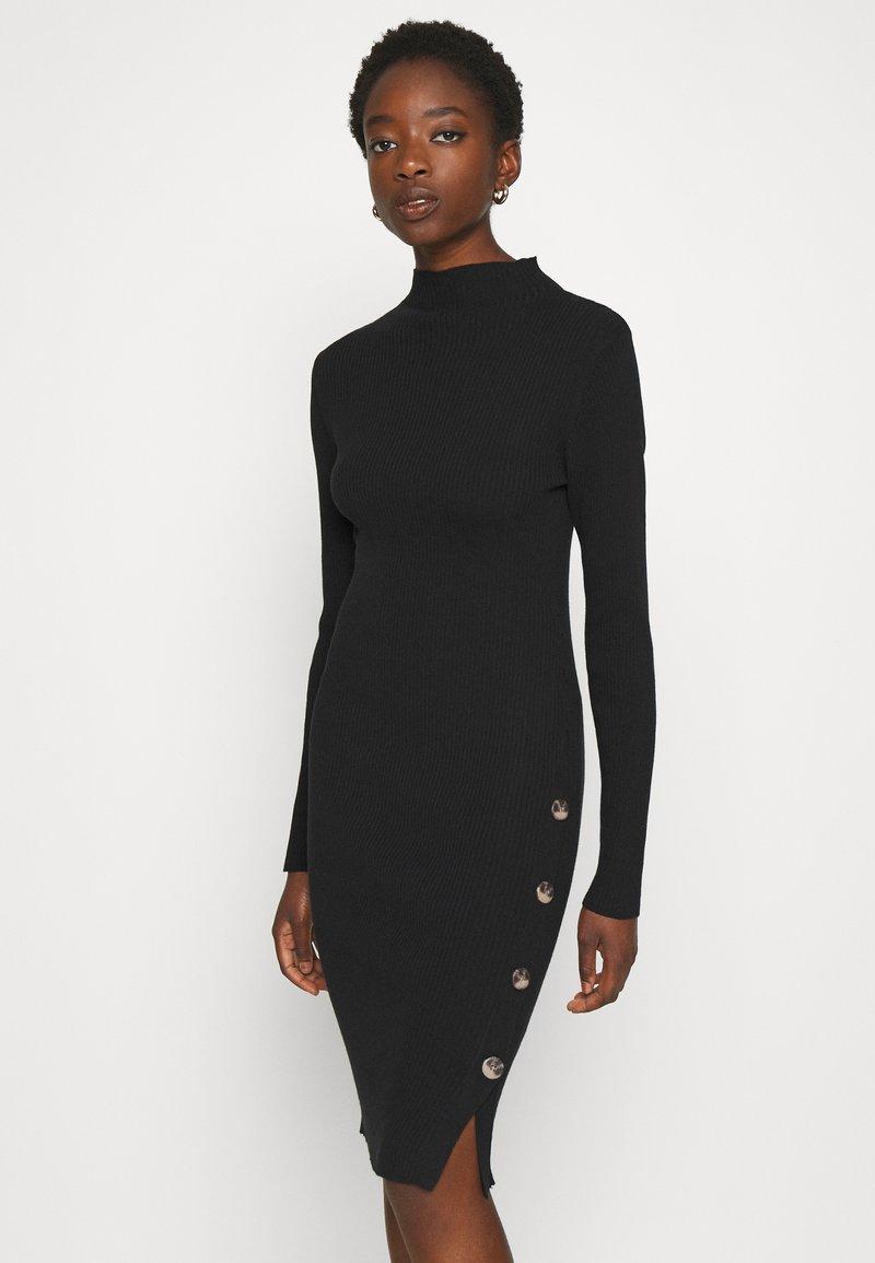 Vila - VISOLTO BUTTON DRESS - Shift dress - black