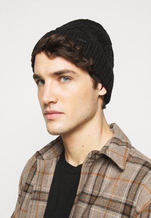 SHAKER CABLE CUFF HAT UNISEX - Berretto - black