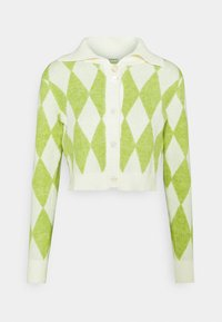 Glamorous - COLLAR CARDIGAN - Cardigan - green/off white
