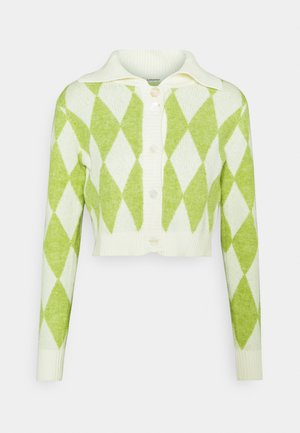 COLLAR CARDIGAN - Cardigan - green/off white