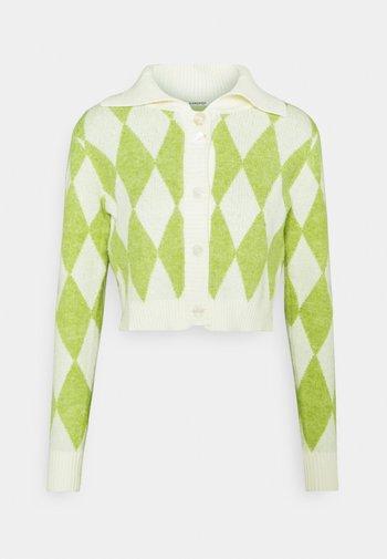 COLLAR CARDIGAN - Kardigan - green/off white