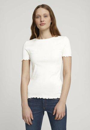 TEE WITH FRILLED EDGES - T-shirt imprimé - gardenia white