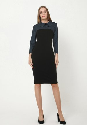 JERSEYKLEID GINA - Shift dress - schwarz, hellblau