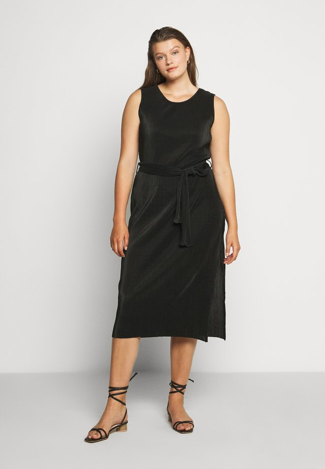 TIE WAIST SPLIT SIDE DRESS - Day dress - black