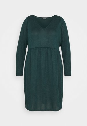 V NECK DRESS - Gebreide jurk - green