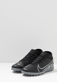 Nike Performance - MERCURIAL 7 CLUB TF - Astro turf trainers - black/metallic cool grey/cool grey - 2