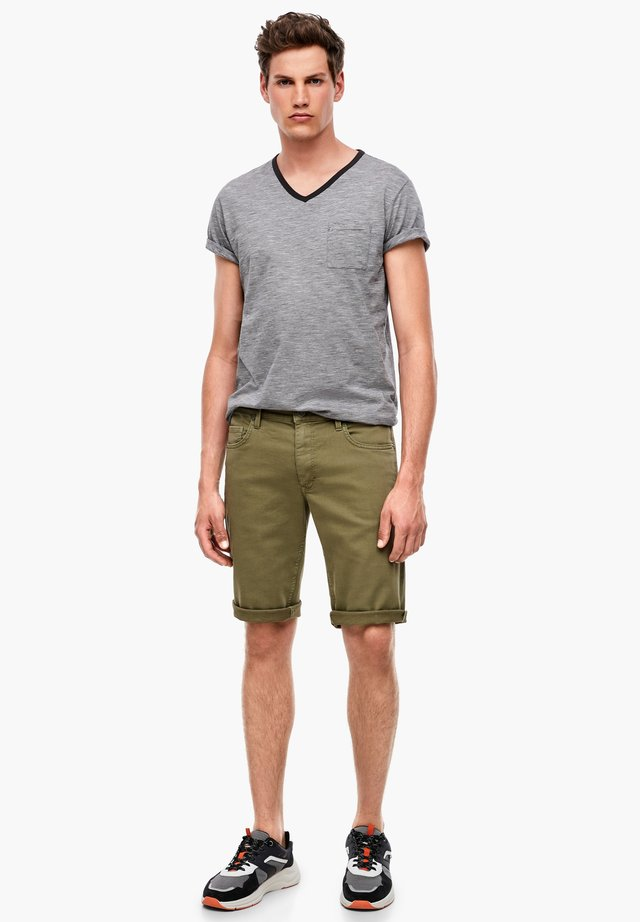 BERMUDA - Denim shorts - olive