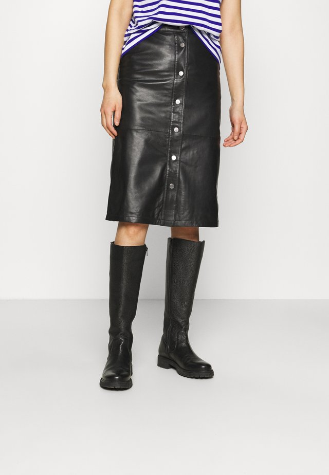 LARA SKIRT - Leather skirt - black