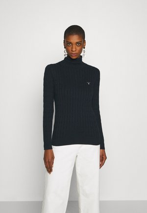 STRETCH CABLE TURTLE NECK - Jumper - evening blue