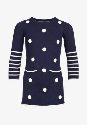 GEPUNKTETES STRICK MIT TASCHEN - Day dress - navy