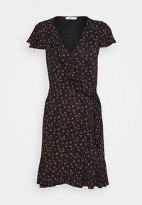 ONLVALENTINA FIXED WRAP DRESS - Jersey dress - black/ditsy