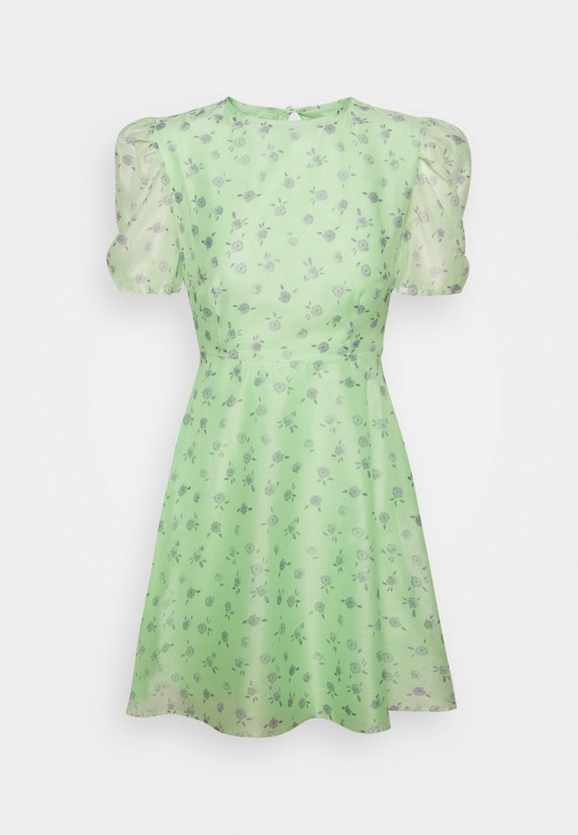 PUFF SLEEVE SKATER DRESS - Vestito estivo - green/watercolour