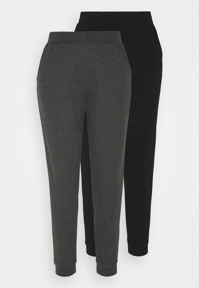 2er PACK - Basic regular fit joggers - Tracksuit bottoms - black/mottled dark grey