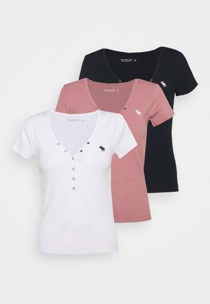 ICON HENLEY 3 PACK - Jednoduché triko - pink/white/navy