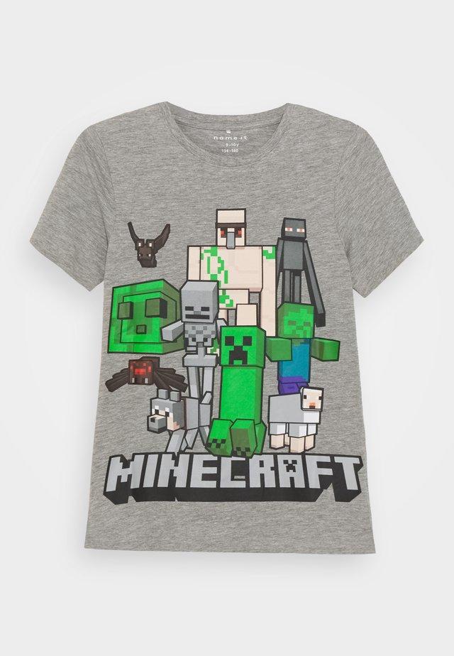 NKMMINECRAFT ARTHUR - T-shirts print - grey melange