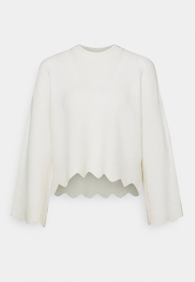CREW NECK WITH SCALLOPS - Sweter - white