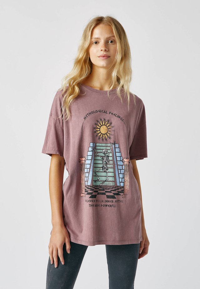 SKELETT - T-shirt con stampa - rose
