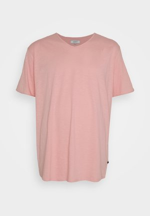 RAW VNECK SLUB TEE - Basic T-shirt - pink