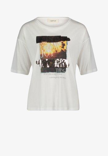 Print T-shirt - weiß/camel