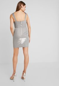 Rare London - METALLIC BODYCON MINI DRESS - Shift dress - grey - 3