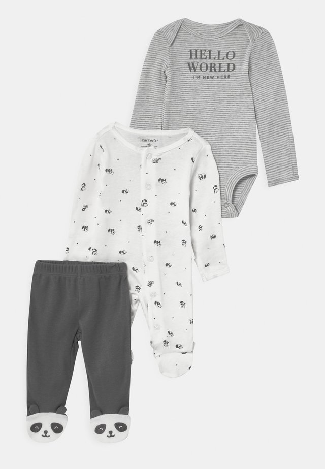 PANDA SET UNISEX - Tygbyxor - white/black