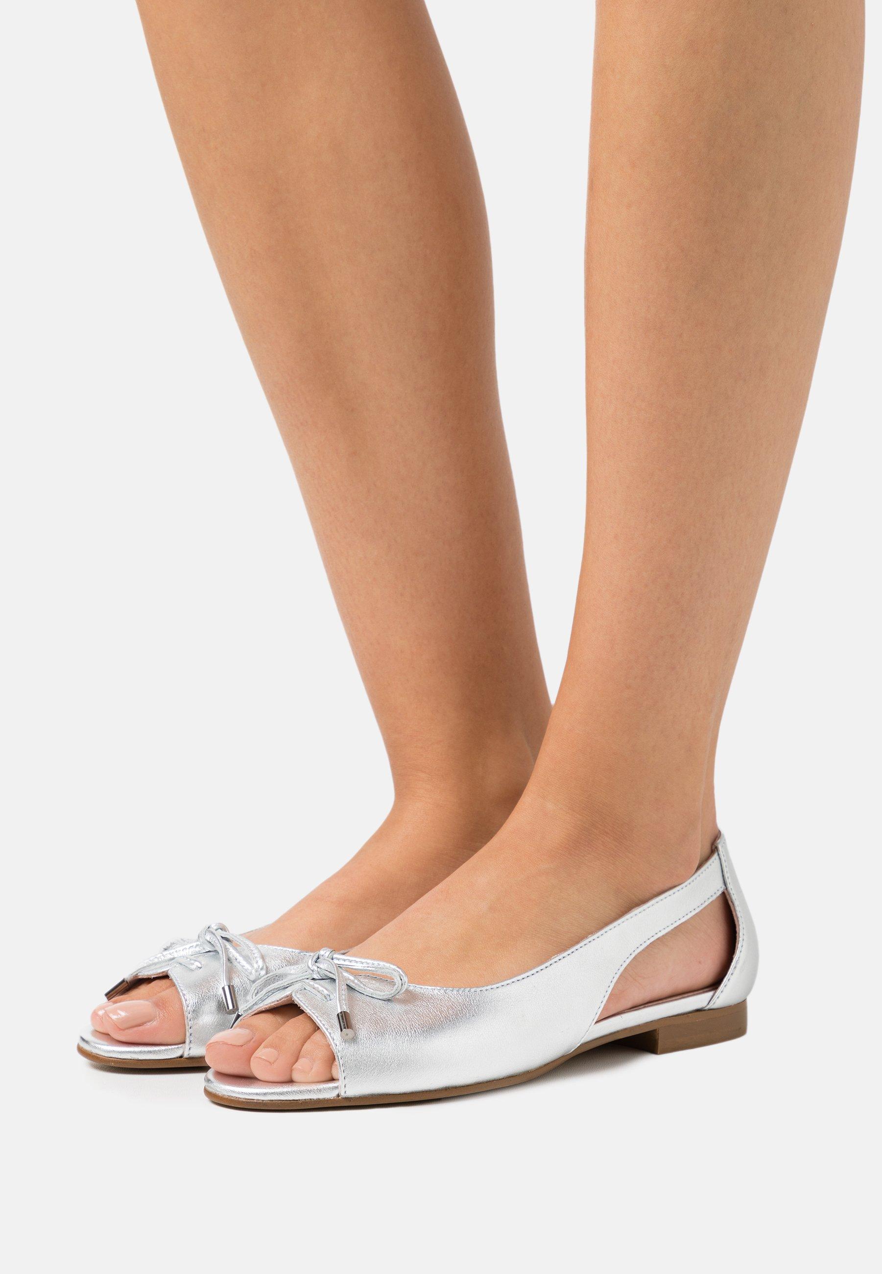 Women LEATHER - Peeptoe ballet pumps - silver