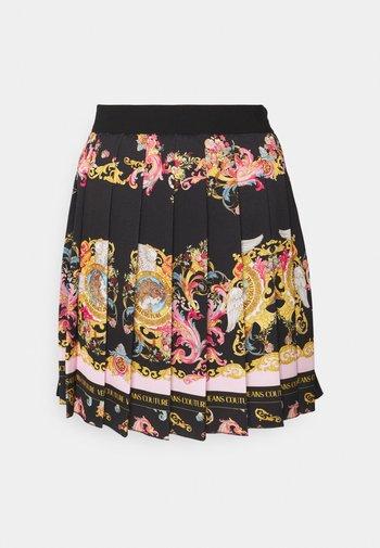 LADY SKIRT - Pleated skirt - black/pink confetti