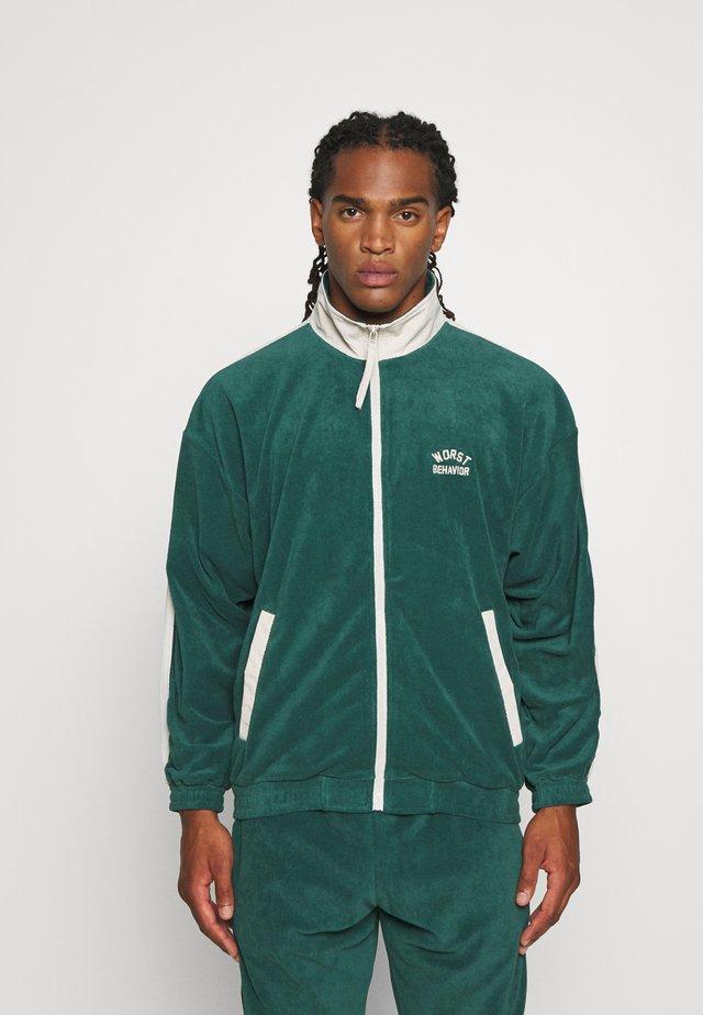 TRACK JACKET UNISEX - Zip-up hoodie - green/off white