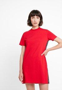 Calvin Klein Jeans - TAPE LOGO DRESS - Jersey dress - barbados cherry - 0