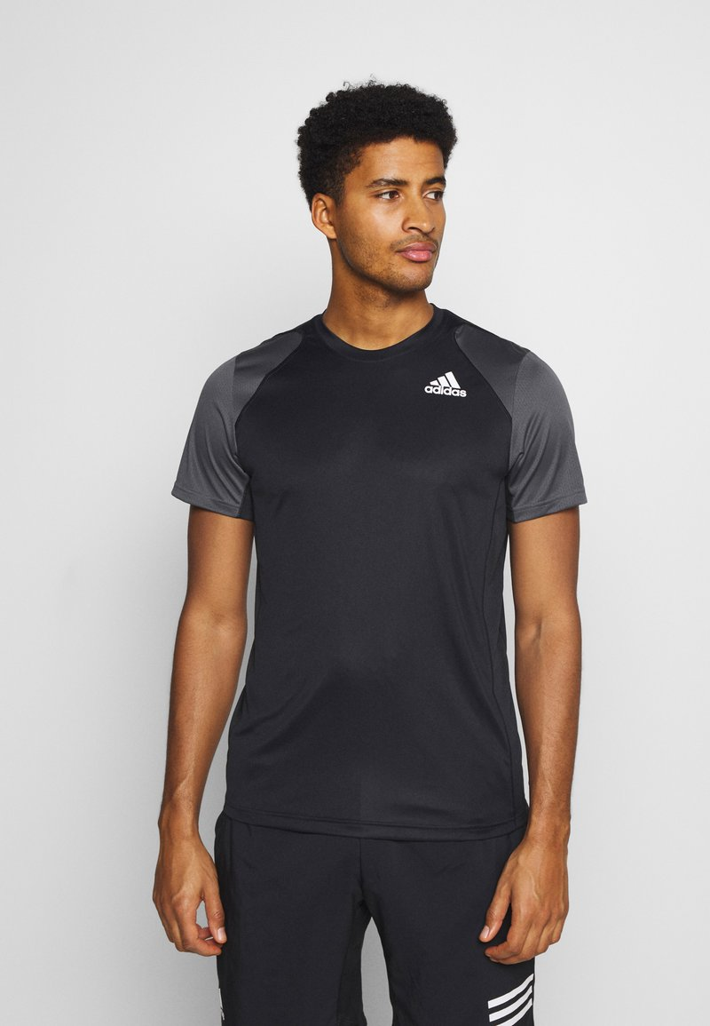 adidas Performance - CLUB TEE - T-shirt med print - black/grey/white