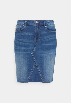 ONLFAN SKIRT RAW EDGE - Miniskjørt - medium blue denim