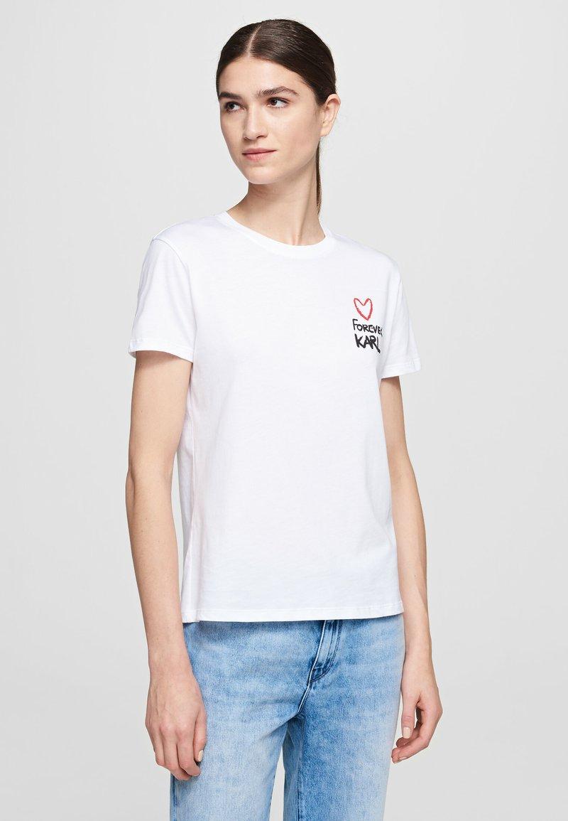 KARL LAGERFELD - FOREVER KARL - Print T-shirt - white