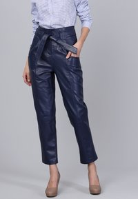 Basics and More - Leather trousers - dark blue - 2